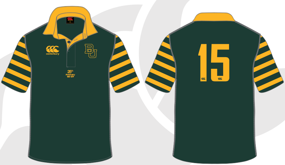 Baylor Rugby Throwback 25th Anniversary Jersey in Green and Gold